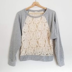 UO Pins And Needles Dolman Pullover Laced Sweater